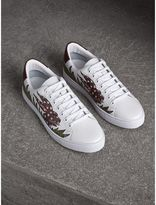 Burberry Beasts Print Leather Trainers , Size: 45.5, Optic White