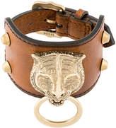 Gucci Leather bracelet with feline head