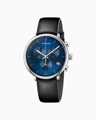High Noon Black Leather Blue Dial Chronograph Watch