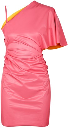 MAISIE WILEN Slick pink one-shoulder vinyl mini dress