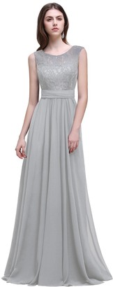 Babyonline D.R.E.S.S. Babyonlinedress Half Sleeves Lace Top Chiffon Skirt Evening Dress Long Bridesmaid Gown ZLCPS522 Navy Blue Size 8