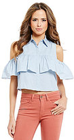 Gianni Bini Gerry Ruffle Front Cold-Shoulder Poplin Blouse