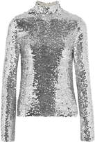 MSGM Sequined Tulle Turtleneck Top - Silver
