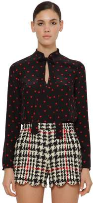RED Valentino Printed Crepe De Chine Blouse W/ Bow