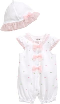 Little Me Hearts Romper & Sun Hat Set