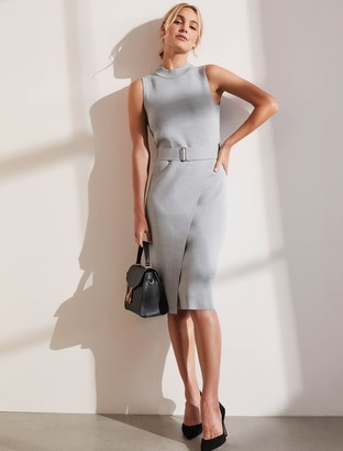 Forever New Sophia Belted Wrap Midi Dress - Grey Marle - 16