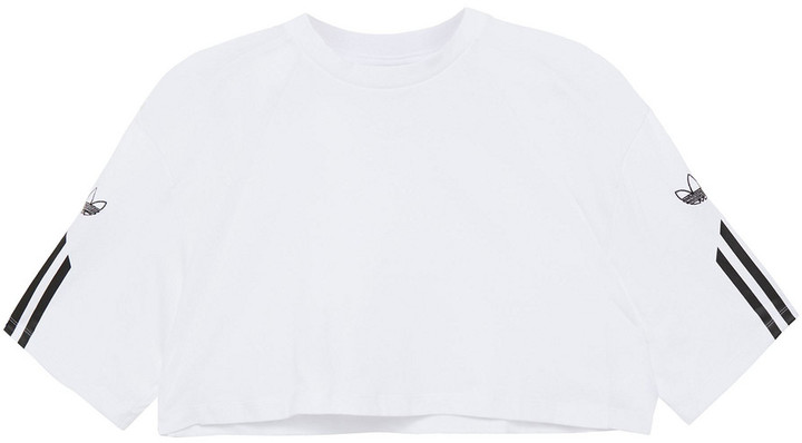 adidas Cropped Printed Cotton-jersey Top