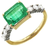 Irene Neuwirth One-Of-A-Kind Square Emerald And Diamond Ring