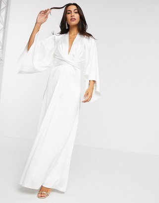 ASOS EDITION extreme cape sleeve maxi wedding dress in ivory