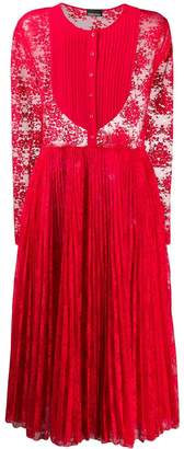 Ermanno Ermanno pleated lace panel dress