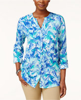 JM Collection Tab-Sleeve Printed Blouse, Created for Macy's