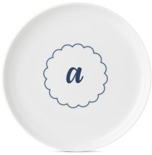 Lenox Navy Scallop Monogram Accent Plate