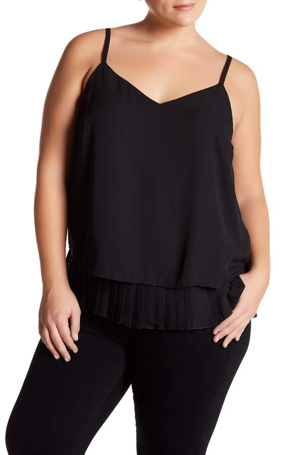 Halogen Pleat Hem V-Neck Cami (Plus Size)