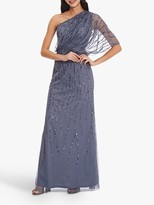 Adrianna Papell One Shoulder Long Beaded Dress, Dusty Blue