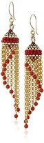 Miguel Ases Carnelian Multi-Gold Chain Cascading Strand Drop Earrings