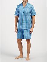 John Lewis Poplin Check Short Pyjamas, Blue