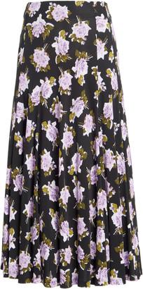 Erdem Vesper Floral Crepe Midi Skirt