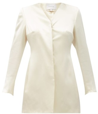 LA COLLECTION Asteria Longline Silk-satin Suit Jacket - Ivory