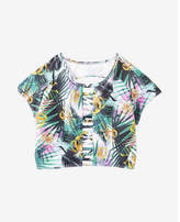Express palm print strappy short sleeve swim top