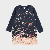 Paul Smith Girls' 7+ Years Navy Cotton Dress With 'Bubbles' Print