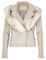 River Island Womens Stone faux fur collar biker jacket