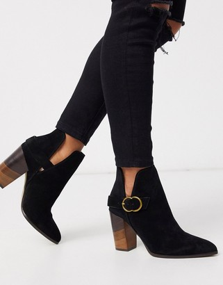 Aldo Kendall buckle ankle boot with wooden heel in black