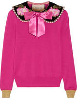 Gucci Embellished Cashmere And Silk-blend Sweater - Fuchsia