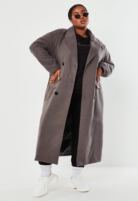 Missguided Plus Size Grey Double Breasted Maxi Coat