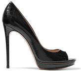 Casadei Croc-effect patent-leather platform pumps