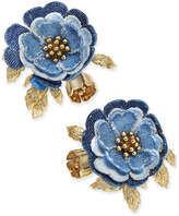 Kate Spade 14k Gold-Plated Denim Flower Stud Earrings