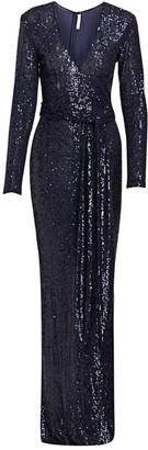 Naeem Khan Sequin Long-sleeve Belted Column Gown