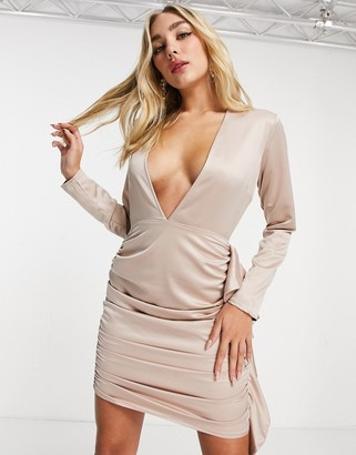 I SAW IT FIRST satin plunge ruched shirt bodycon dress in light pink