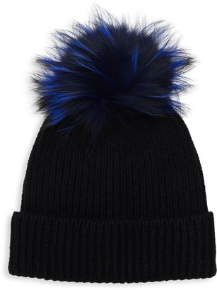 Amicale Knit Cashmere Fox Fur Pom-Pom Beanie
