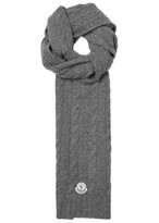 Moncler Grey Cable-knit Wool Scarf