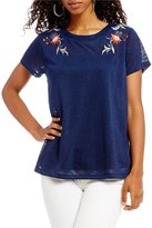 Miss Me Floral Embroidered Short-Sleeve Tee