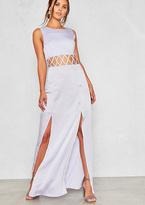 Missy Empire Nicola Lilac Cut Out Split Leg Maxi Dress