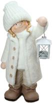 "Northlight 17.25"" Winter Girl in White w/Tealight Lantern Table Top Figure"