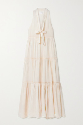 HONORINE Eve Tiered Metallic-trimmed Crinkled Cotton-gauze Maxi Dress - Cream