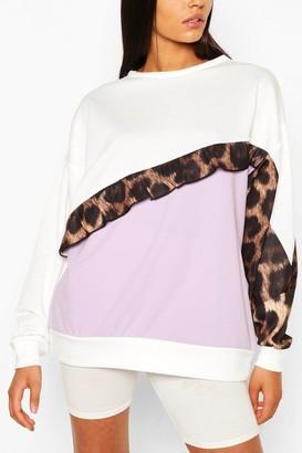 boohoo Tall Ruffle Leopard Colour Block Sweat