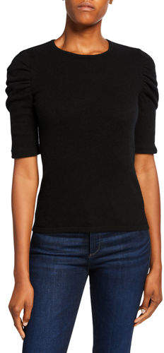 Neiman Marcus Crewneck Ruched Elbow-Sleeve Cashmere Sweater