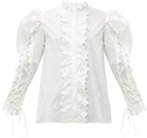 Horror Vacui Triangula Puffed Sleeve Cotton Blouse - Womens - White