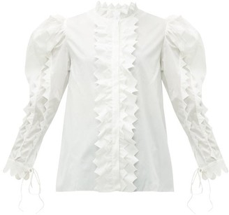 Horror Vacui Triangula Puff-sleeved Cotton Blouse - Womens - White