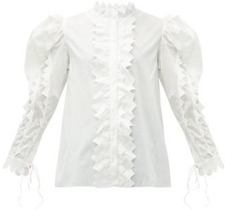 Horror Vacui Triangula Puffed-sleeve Cotton Blouse - Womens - White