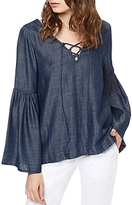 Sanctuary Lila Lace-Up Bell Sleeve Chambray Top