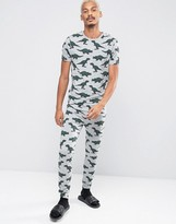 Asos Loungewear Super Skinny Pajama Bottoms With Dinosaur Print
