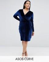 Asos Wrap Pencil Dress In Velvet