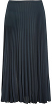 Vince Pleated Chiffon Midi Skirt - Navy