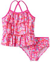 Osh Kosh Girls 4-6x Multi-Heart Print Tankini Top & Bottoms Swimsuit Set