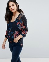 Dex Wrap Front Floral Print Top