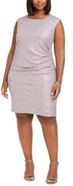 Jessica Howard Plus Size Metallic-Print Sheath Dress